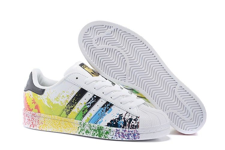Mens Womens Adidas Superstar Pride Pack Paint Rainbow D70351 Running Shoes d70351