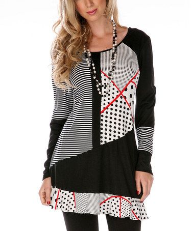 Red & Black Ruffle Abstract Tunic #zulily #zulilyfinds