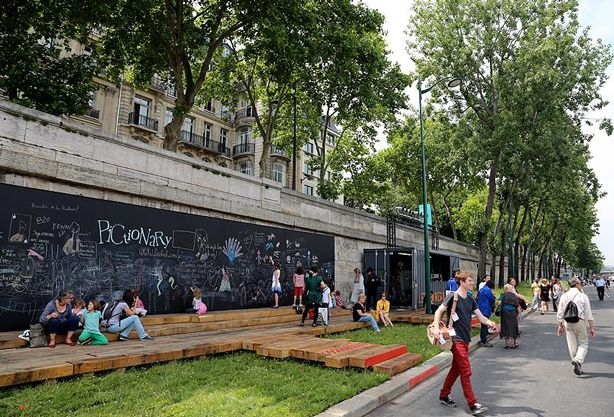 Floating Gardens, Giant Chalkboards, and Climbing Walls on Banks of Seine in Paris ...