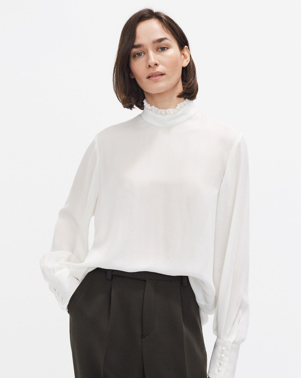 77e03a3e3cf476 Silk Ruffle Blouse Off White - Filippa K | Fashion Wish List ...