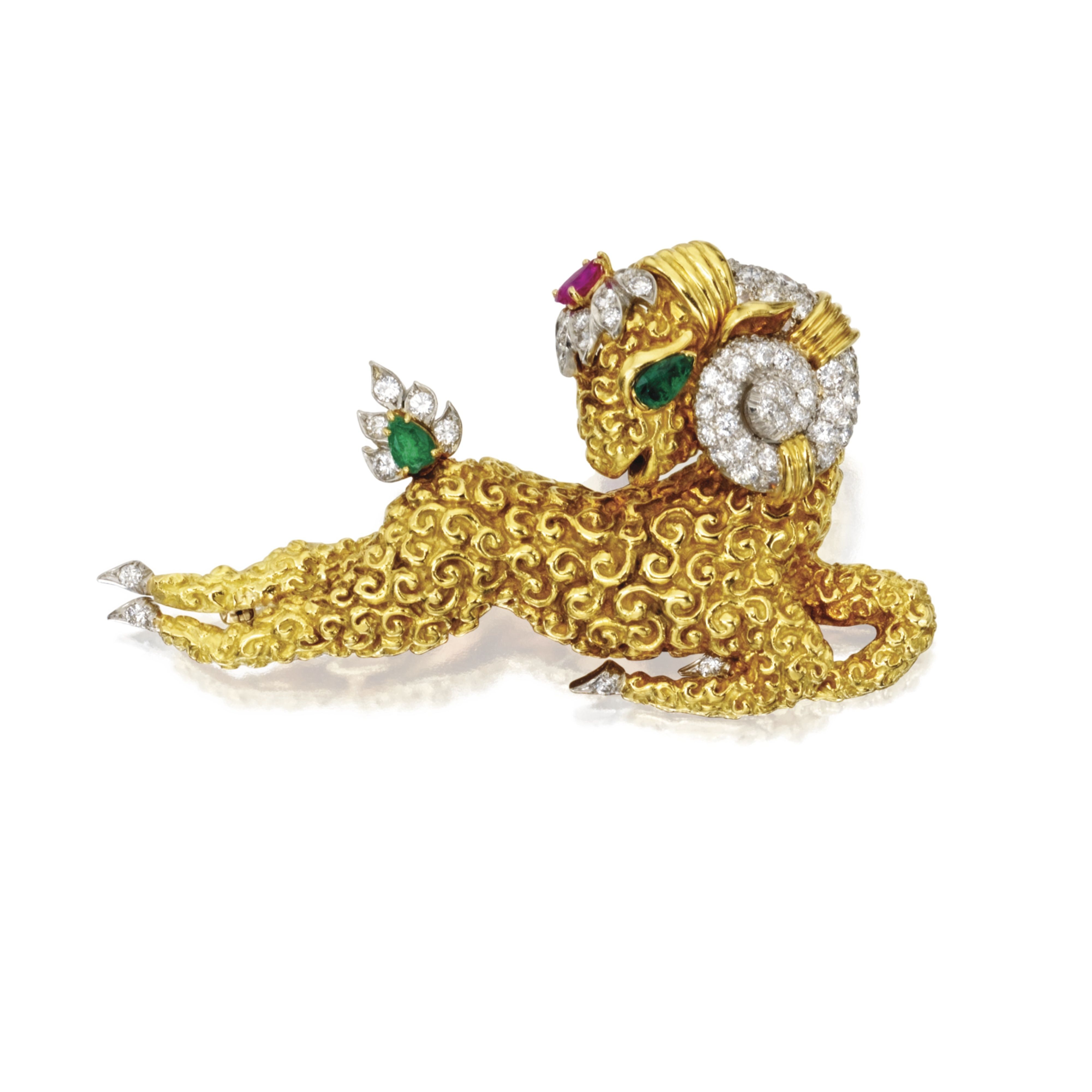 18 KARAT GOLD, PLATINUM, COLORED STONE AND DIAMOND BROOCH, DAVID WEBB Designed as a galloping ram composed of textured gold, set with round diamonds weighing approximately 2.90 carats, accented by pear-shaped emeralds and a pear-shaped ruby, signed Webb.