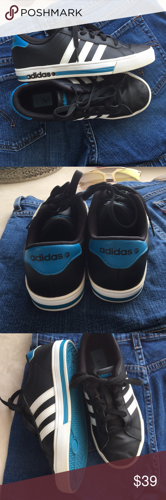 Cool kids Adidas sneakers Black, white and blue. Worn once ...