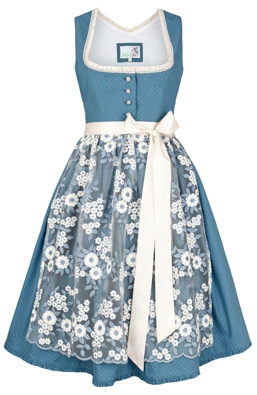 Dirndl Alpenfee Bloom Blau Mit Spitzenschurze 60cm Dirndl Trachten Dirndl Modestil