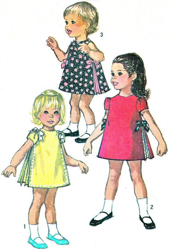 1960s Girls Dress Pattern Simplicity 8564 Toddler Girls Sleeveless or Puff Sleeve Side Pleat Dress Vintage Sewing Pattern Bust 19 Uncut     Pinned by WhatnotGems
