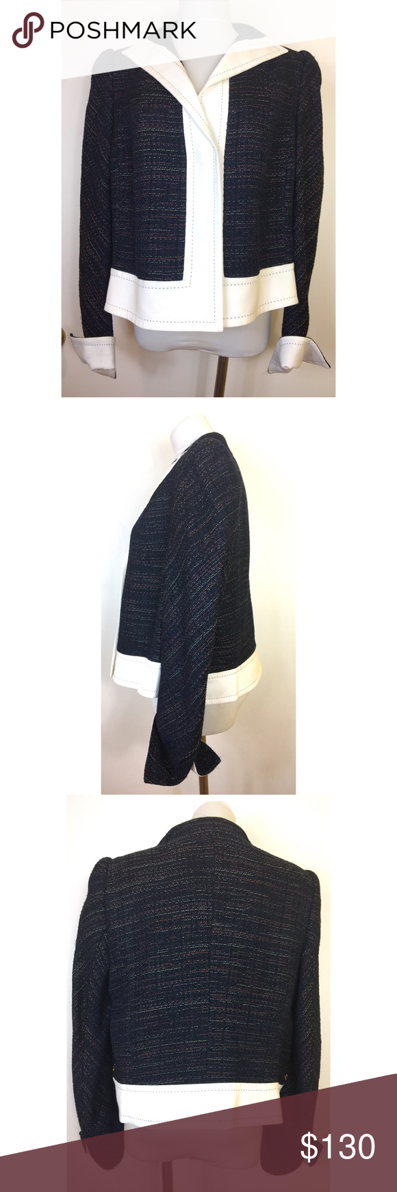 ESCADA Tweed Blazer Jacket Size 44 Large Navy Blue Escada