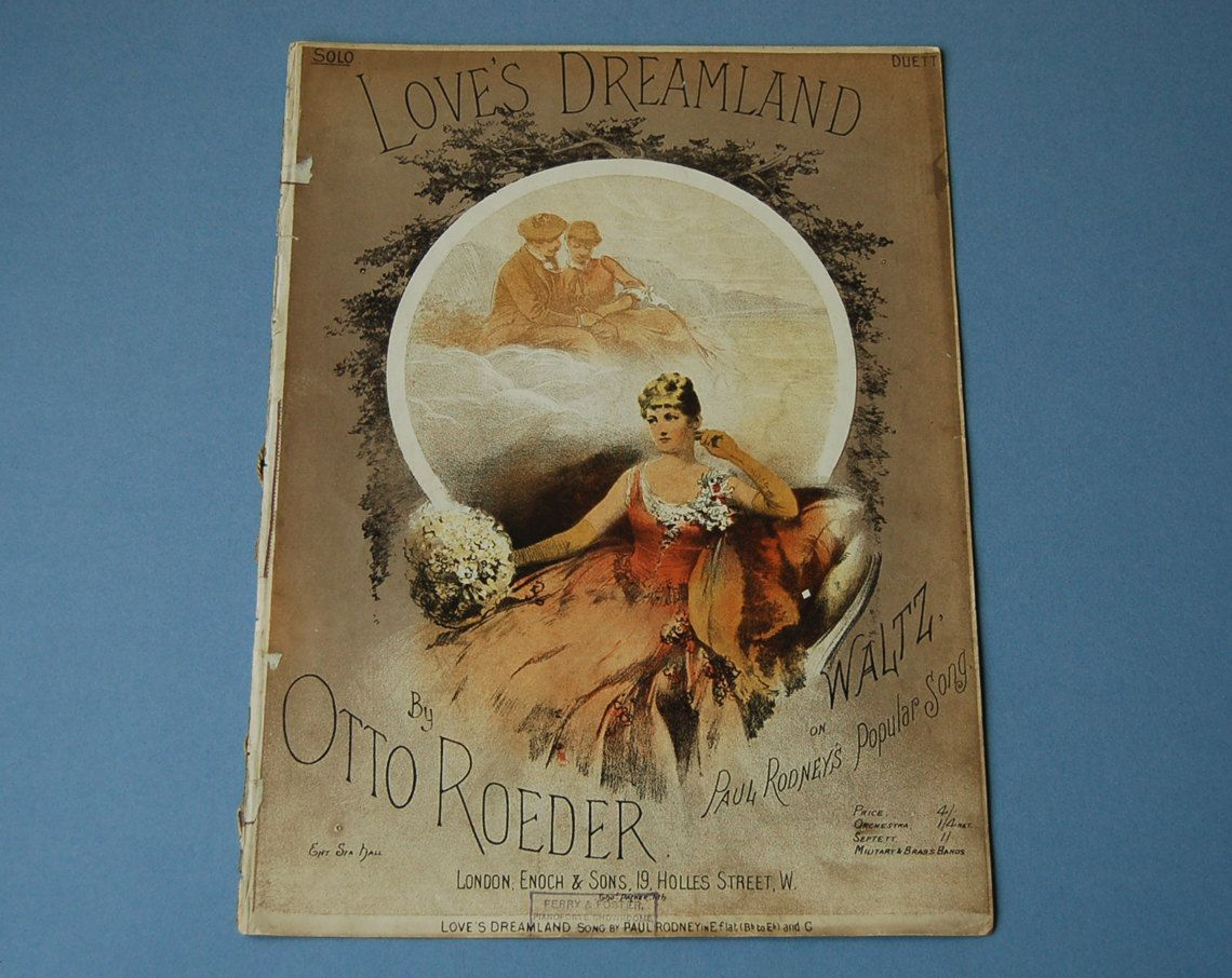 Antique sheet music art Loves Dreamland Otto RoederWaltz sheet music Wall hanging Home decor Art Nouveau woman portrait