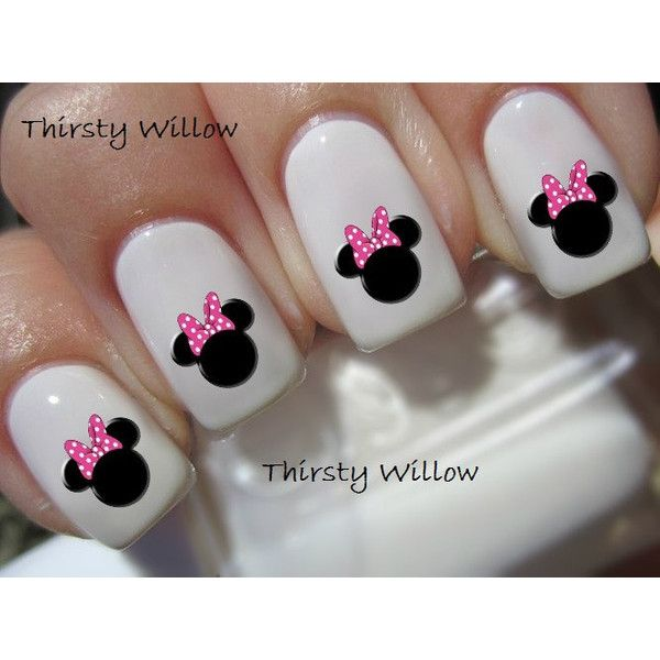 Minnie Mouse Pink Bow Nail Decals ($2.99) ❤ liked on Polyvore ...