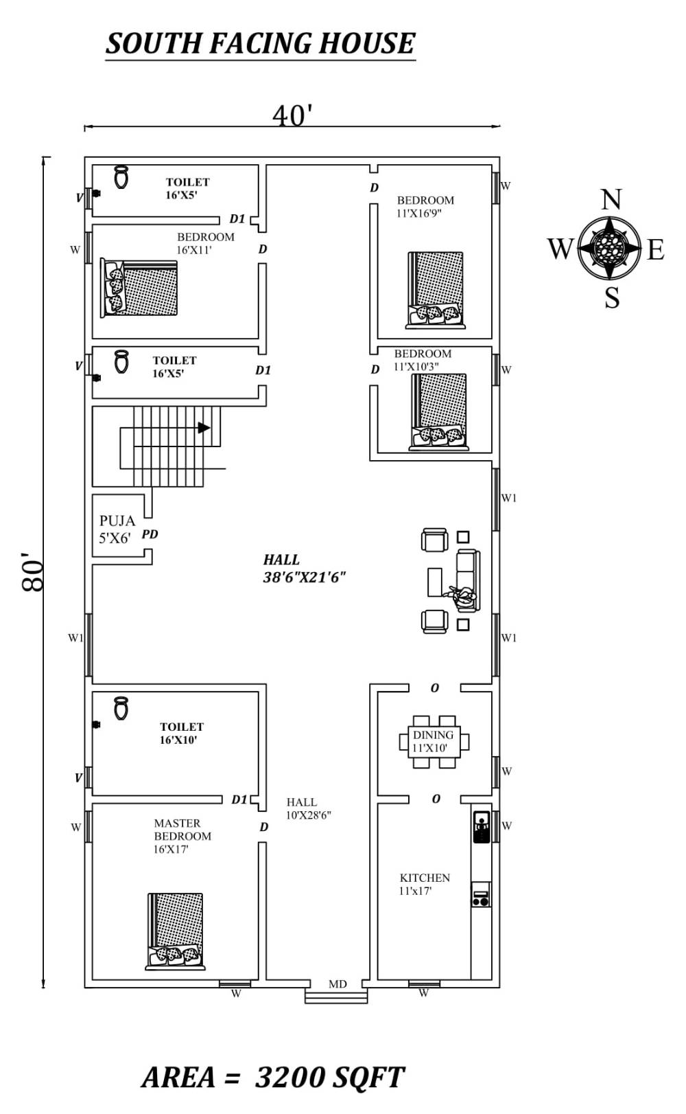 40 X80 4bhk South Facing House Plan As Per Vastu Shastra Autocad Dwg And Pdf File Details South Facing House House Construction Plan House Plans
