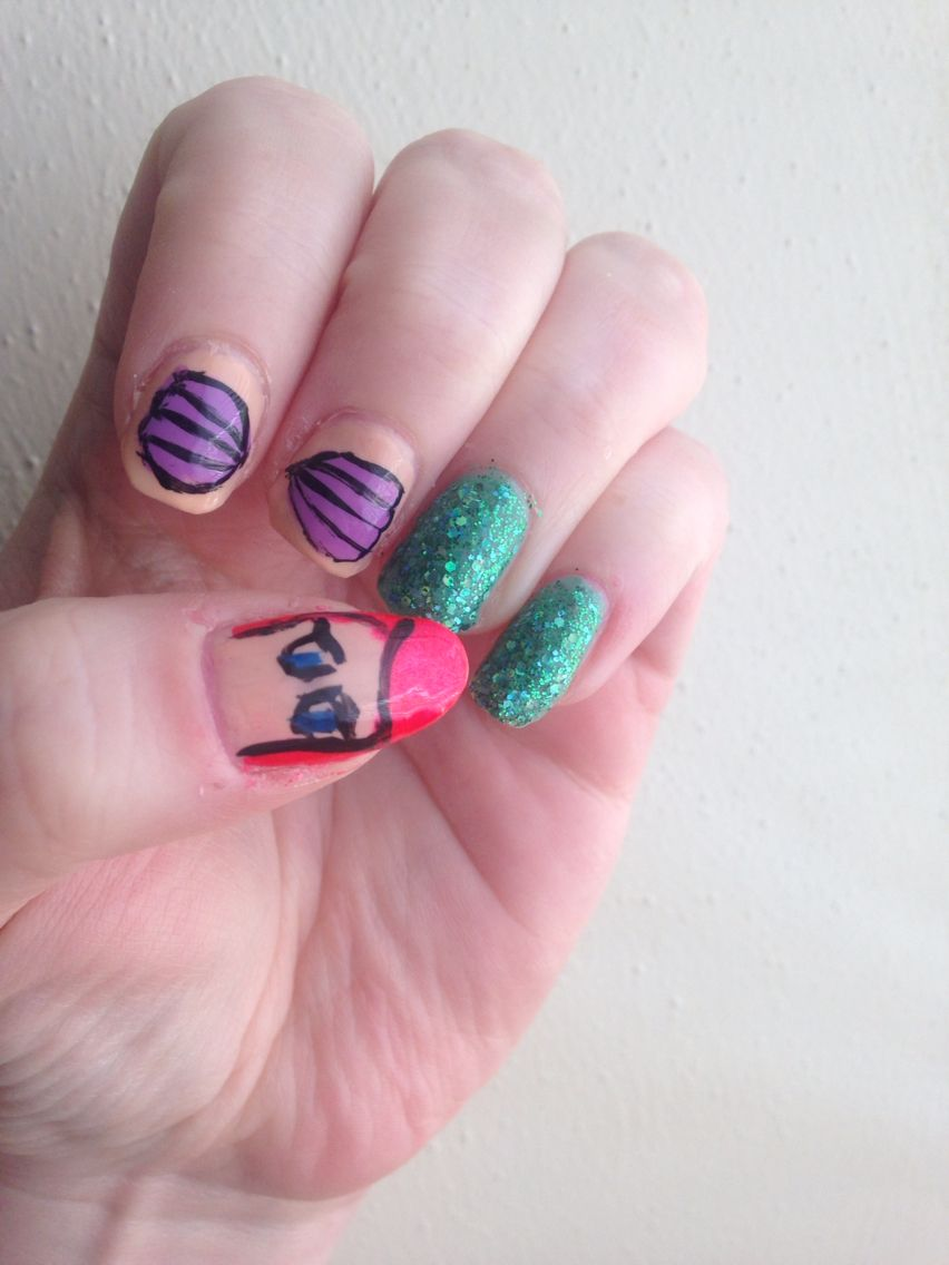 Ariel Nails Using The Green Glitter Part Of Your World Polish From Orly Collection At Walgreens