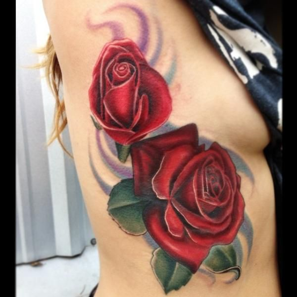 Two Roses Together Tattoo Two Red Roses Realistic Tattoo By Mike Woods Chest Piece Tattoos Tattoos Realistic Rose Tattoo
