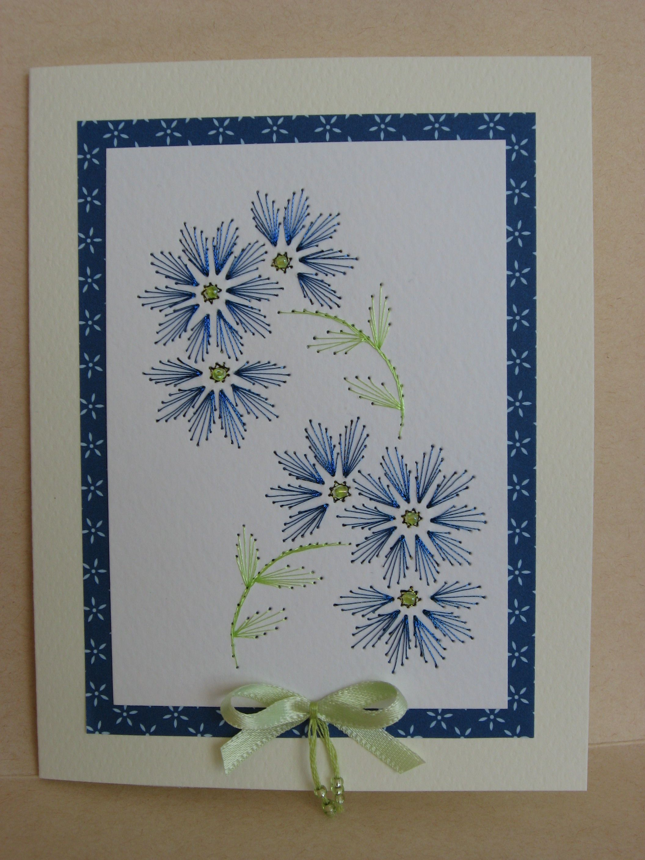 Bleuets Brode Paper Embroidery Art Craft Cards Hand Embroidery Art
