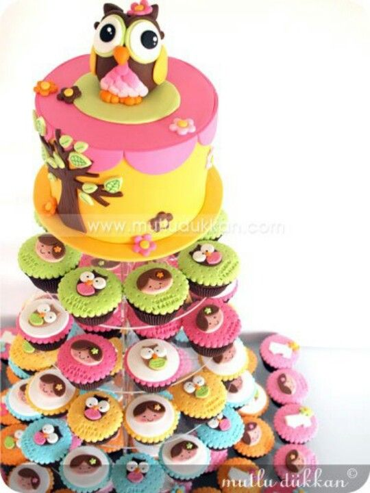 concept of cake on top with cupcakes below