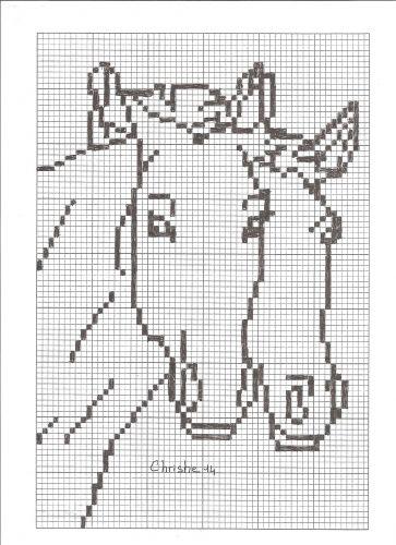 couple de cheval | Cheval en point de croix, Animaux de point de croix et Point de croix facile