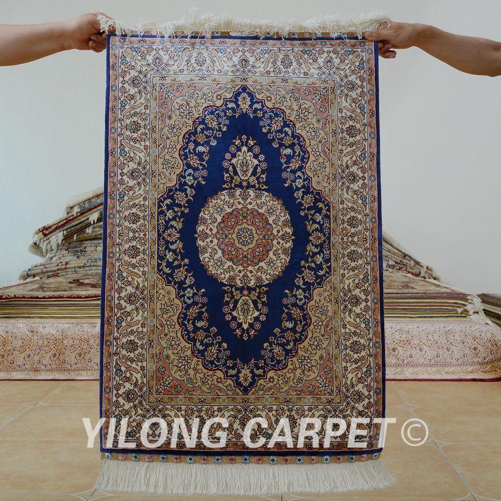 Yilong 2 X3 Oriental Pure Silk Carpet Blue Exquisite Hand Knotted India Rugs
