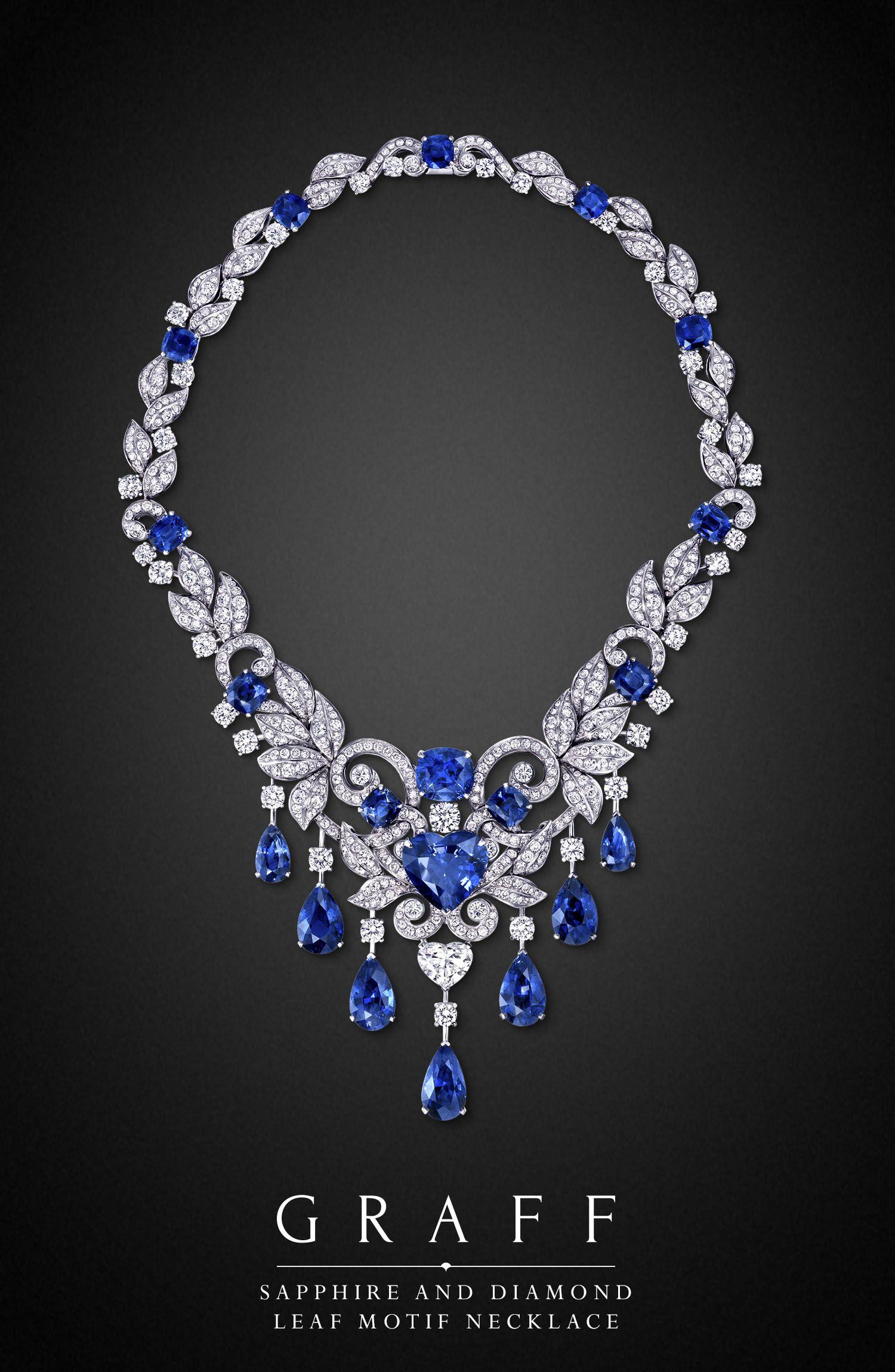 Sapphire and Diamond Leaf Motif Necklace GraffDiamonds 1 500