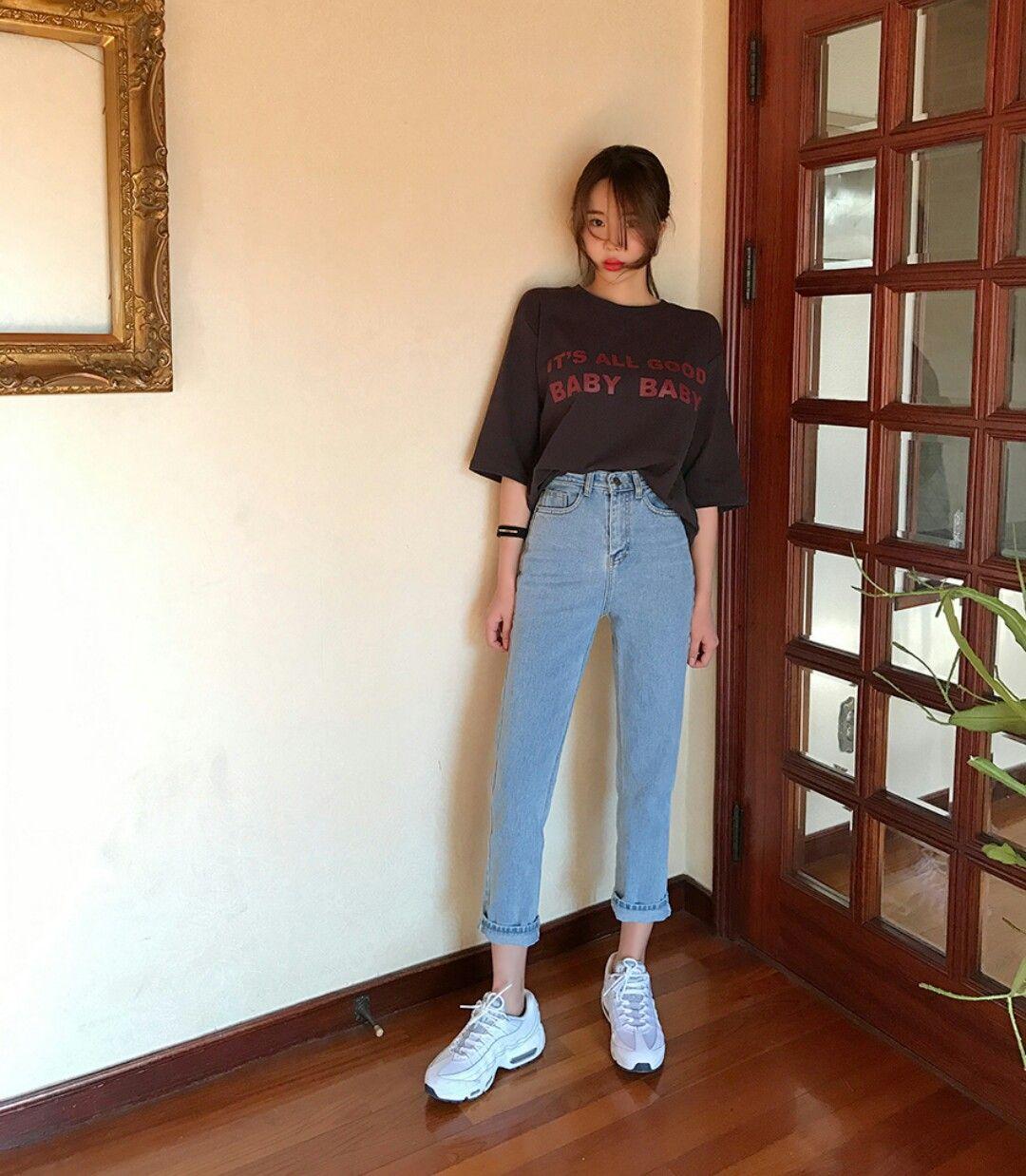 @linaphat Korean Boyfriend Jeans And Tshirt