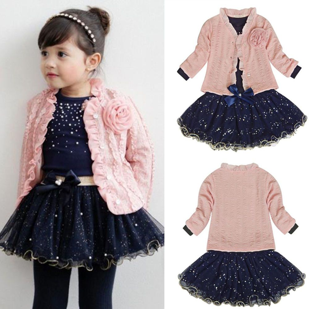 Toddler Kids Baby Girls Outfits Clothes T-shirt Tops+Tutu Dress Skirt 3PCS Sets