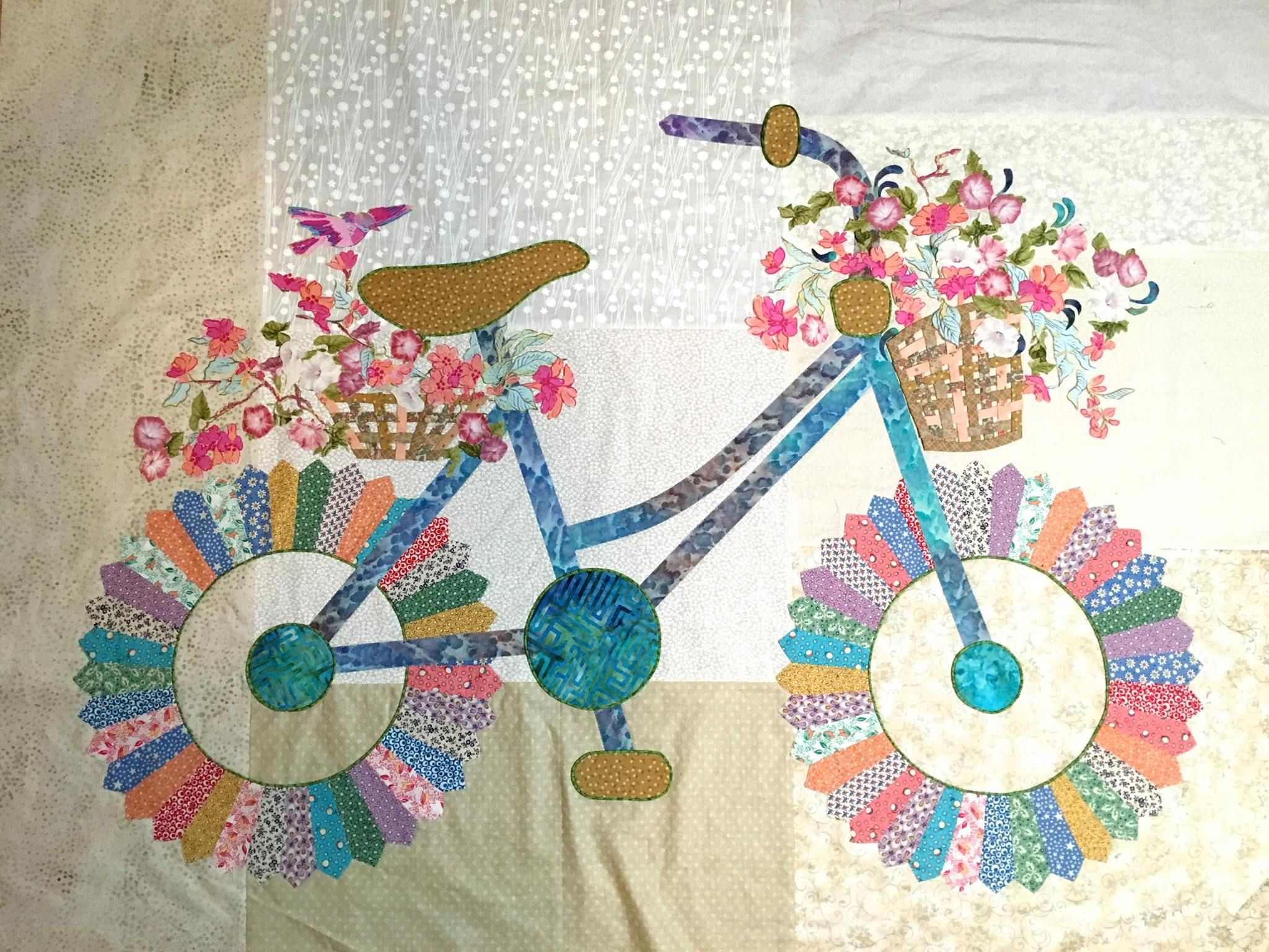 Quilt-Inspiration! Bicycle by Sally Manke, Fiber Artist. Perhaps a tutorial someday?