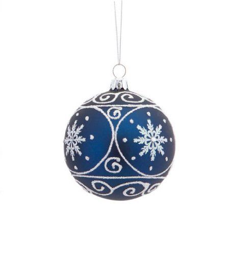 35 matte navy blue christmas glass ball ornament with white glitter designs you can get more details by clicking on the image - Navy Blue Christmas Ornaments