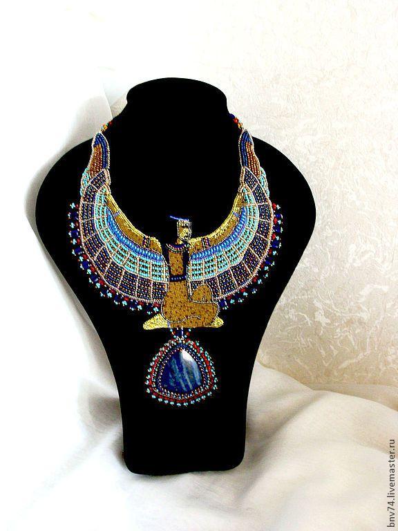 """Купить Колье """"Маат"""" - колье, египетский стиль, египет, колье из бисера, колье вышитое бисером"""