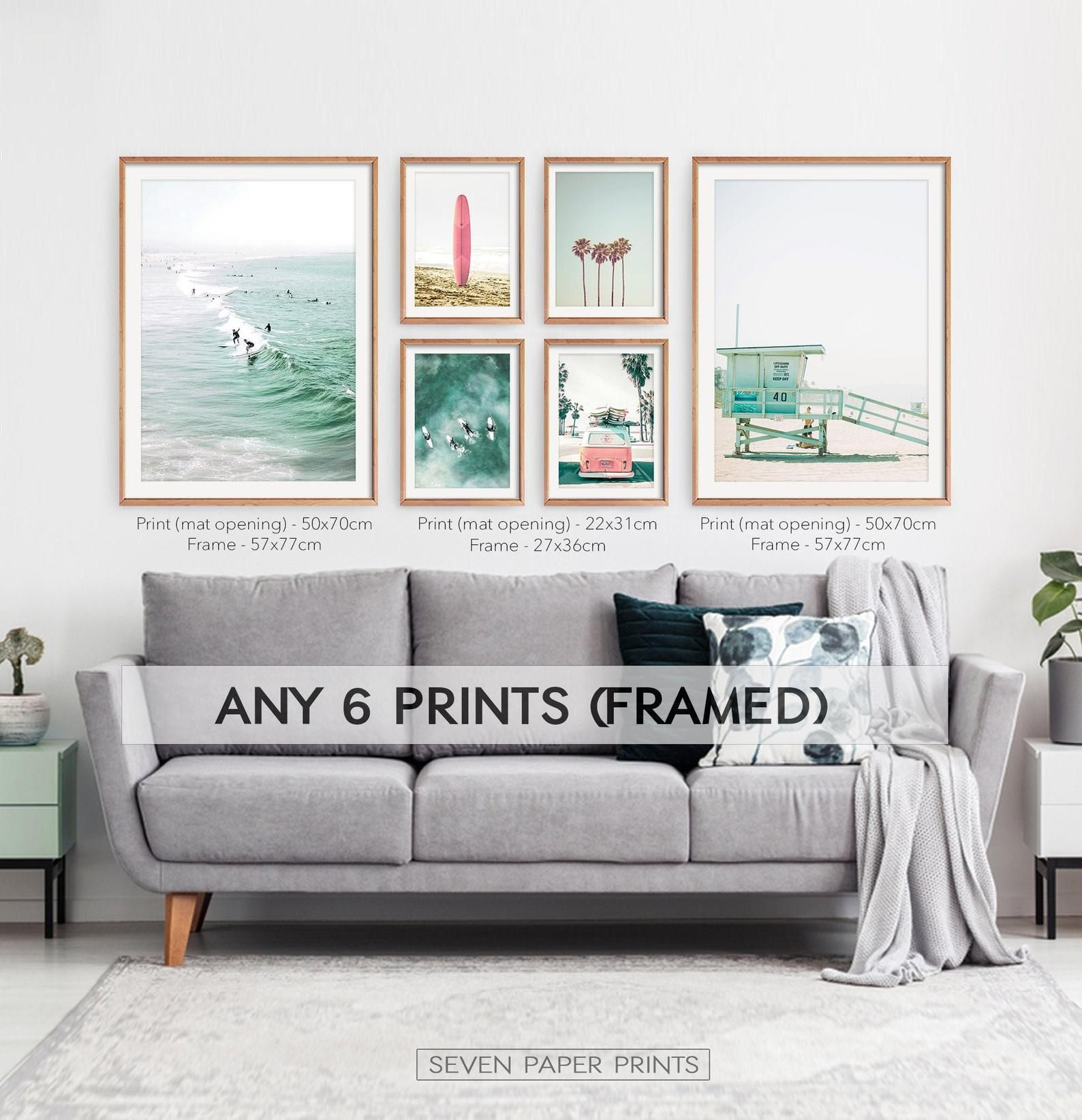 Coastal Set Of 6 Framed Prints On Wood Beach 6 Piece Wall Art For Large Living Room Gallery Wall Shipped Free Surfing Decor Gallery Wall Living Room Frames On Wall Above Couch Decor