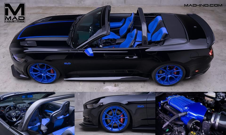 mad industries 2015 ford mustang gt convertible black and blue custom interior blue wheels