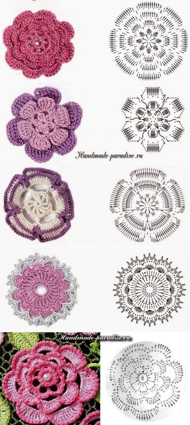 tamborējumi-4 | Free crochet | Pinterest | Flores, Ganchillo y ...