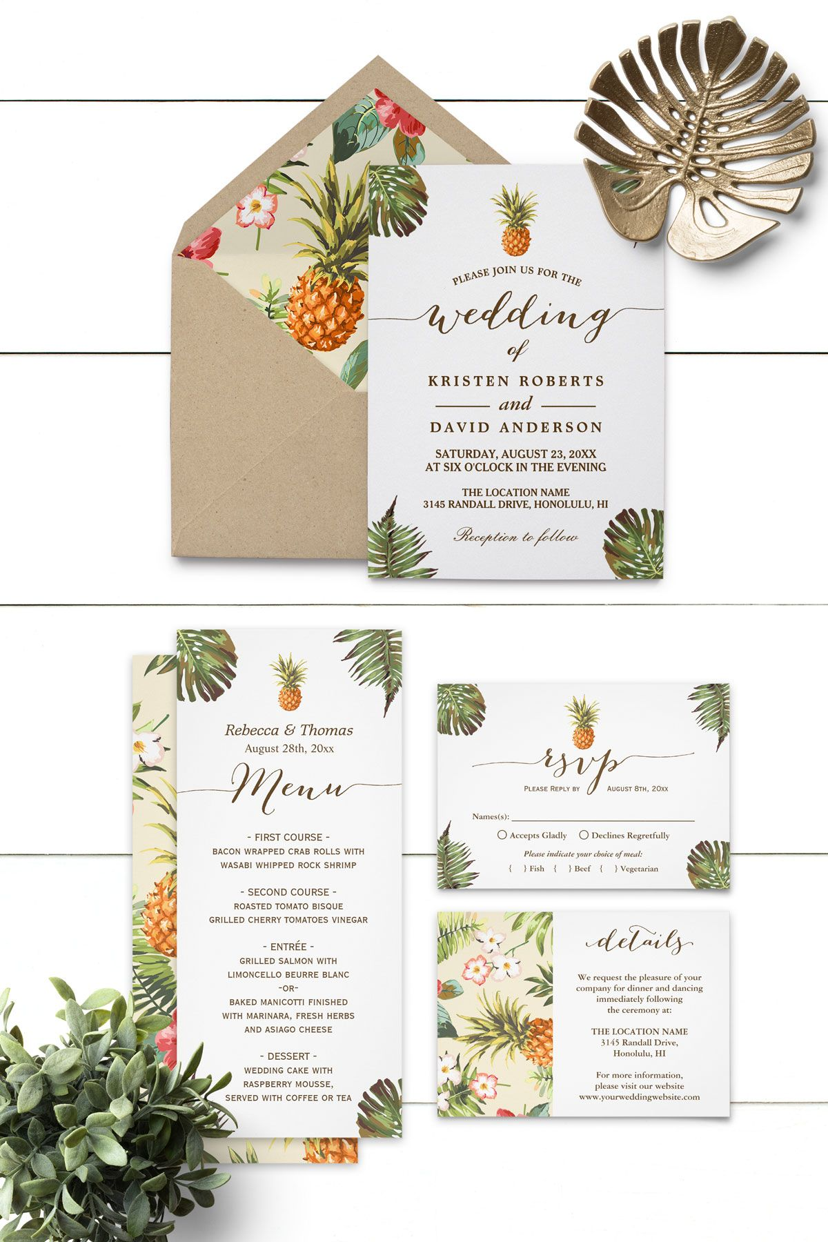 Tropical Leaves Pineapple Luau Wedding Invitation Suite Luau