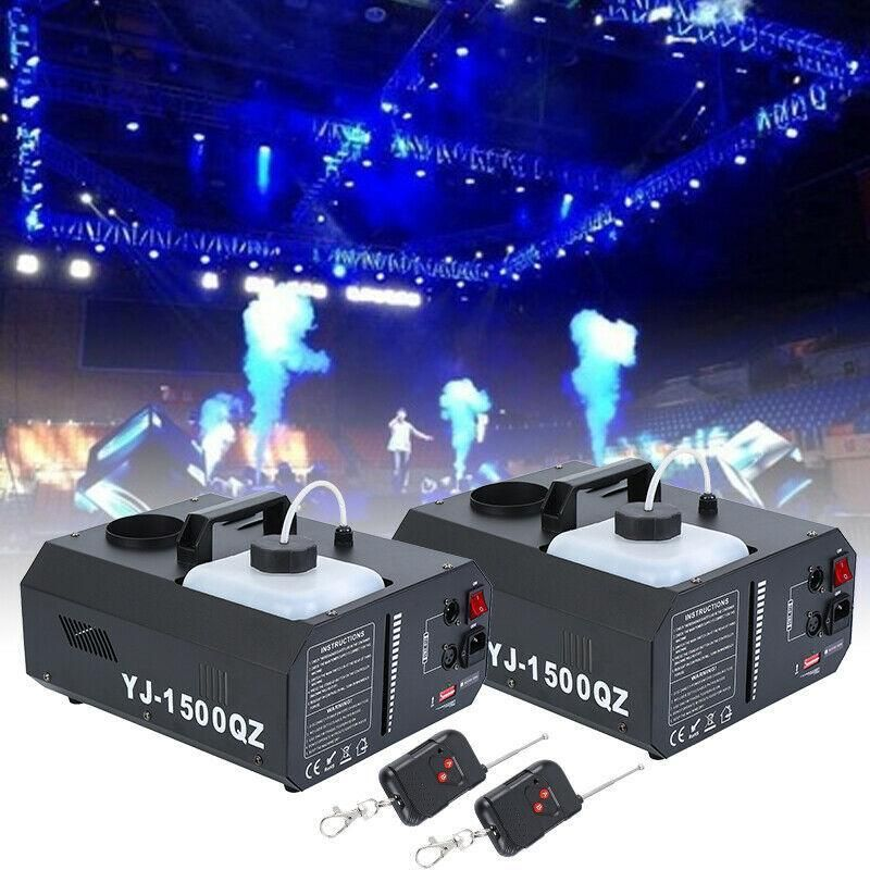 Yonntech 2pcs 1500W Vertical Stage Fog Smoke Machine Upspray Fogger w/Wireless Remote Contro Item Type: Stage Lighting EffectStyle: DMX Stage LightPower: 1500WModel Number: WT02-0006-EUx2Voltage: 240V/110vOccasion: Professional Stage & DJ
