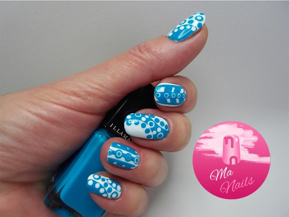 Turquoise and White Dotty Nails is a lovely bright design combining a mix of turquoise and white dots and stripes. Easy to do with dotting tools and striper