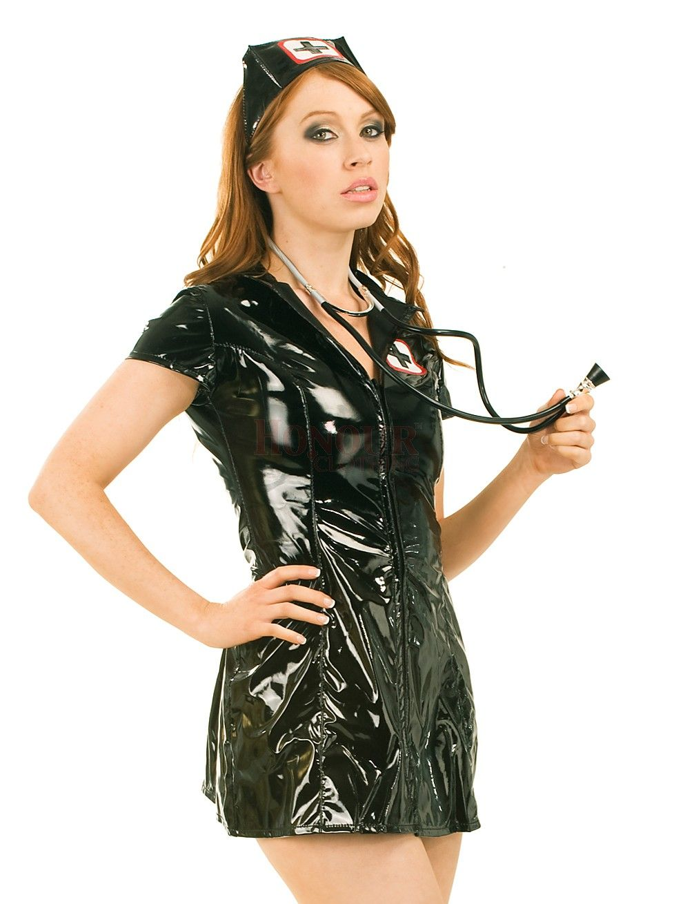 5075850efb7 black pvc outfits | PVC Sexy Nurse Dress - Black | B F | Nursing ...