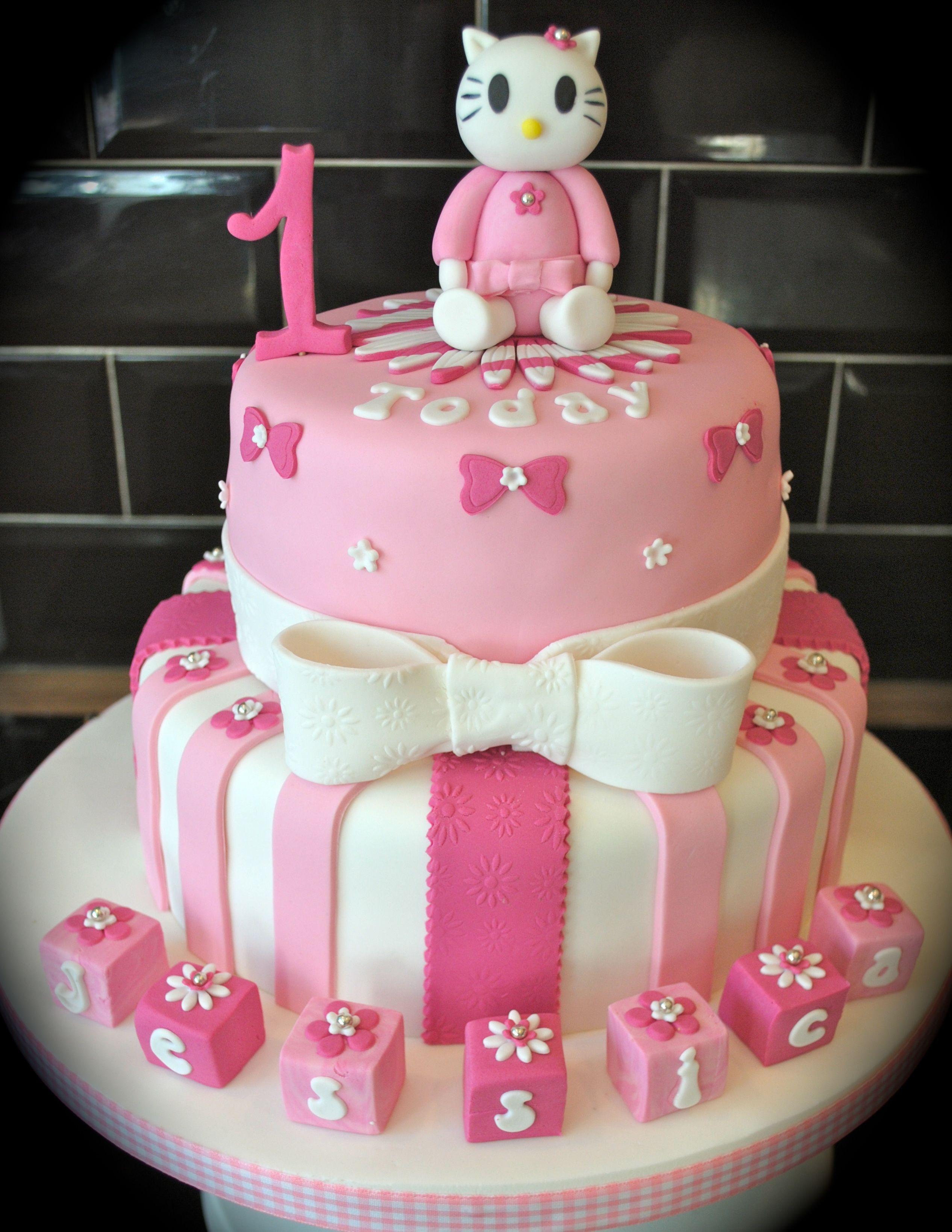Hello Kitty 1st Birthday Cake Bellas 1st Birthday Pinterest