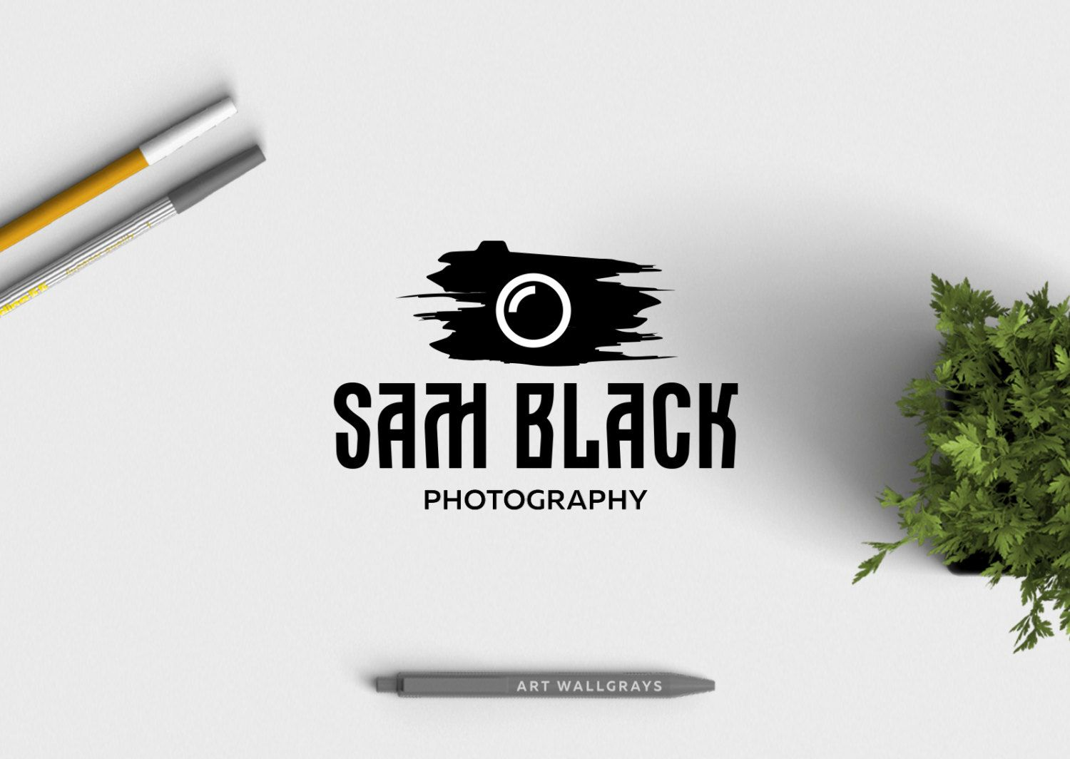premade logo design camera brush watermark logo calligraphy design photography logo premade branding small business logo