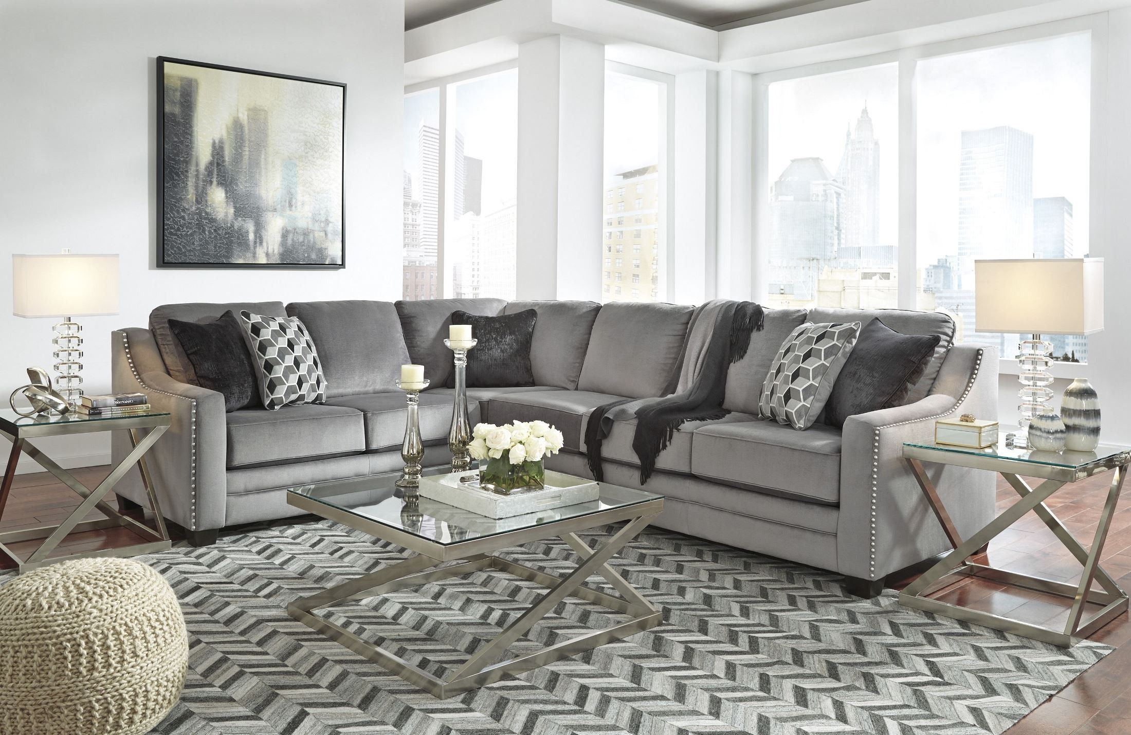 Astounding Bicknell Charcoal Laf Sectional From Ashley Coleman Pdpeps Interior Chair Design Pdpepsorg