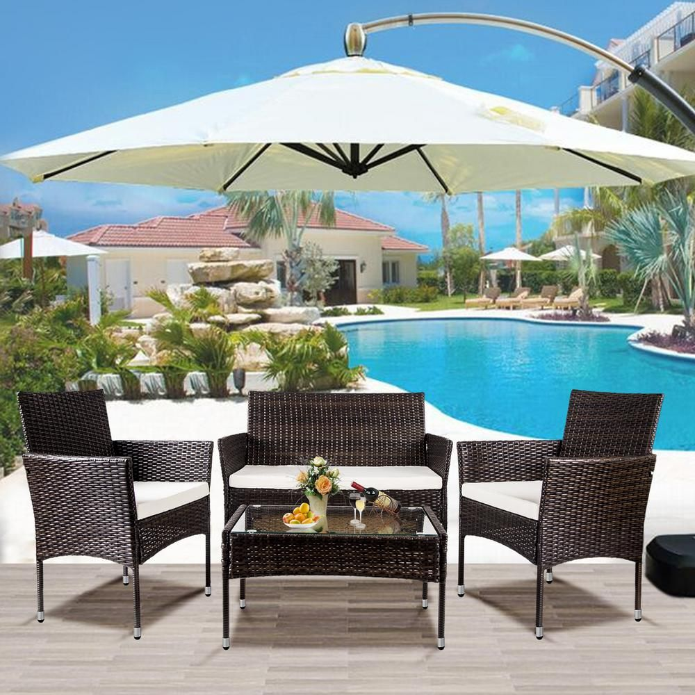 Harper Bright Designs Brown 4 Piece Wicker Patio Conversation Set With White Cushions In 2020 Patio Furniture Sets Patio Rattan Furniture Set