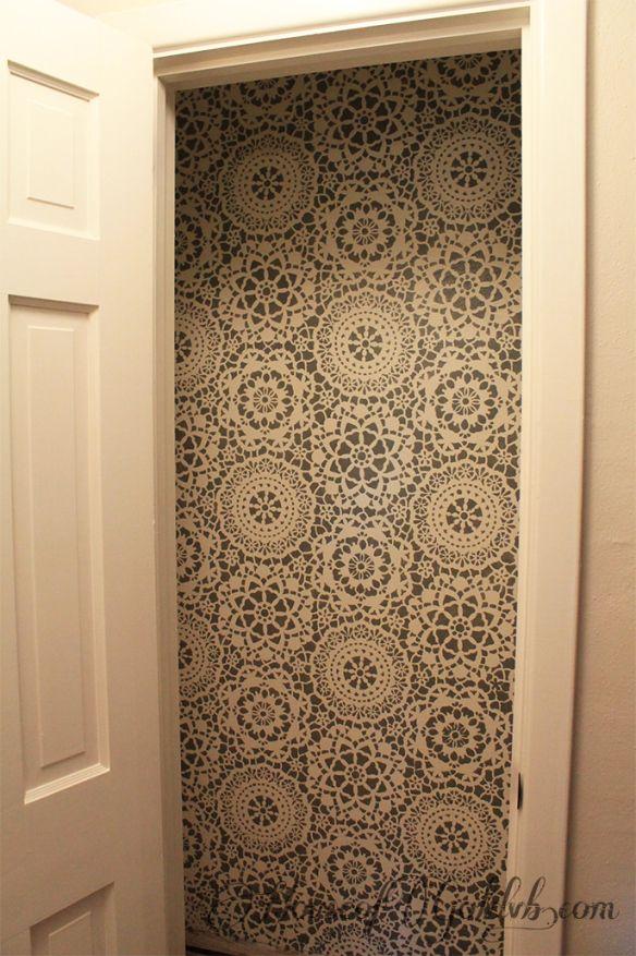 Diy Painted Stencil Bathroom Floor: Parlor Lace Wall Stencil