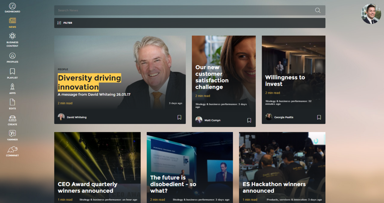 The homepage of Commonwealth Bank's new intranet, OneCBA. The intranet brings a much more modern look and contemporary features and concepts compared to the previous intranet. http://www.steptwo.com.au/award-winner/commonwealth-bank-australia-innovating-new-global-intranet/?utm_campaign=coschedule&utm_source=pinterest&utm_medium=Step%20Two&utm_content=Commonwealth%20Bank%20of%20Australia%3A%20Innovating%20with%20a%20new%20global%20intranet