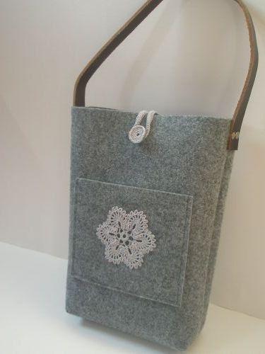 0bf939fa9d Cabas sac en feutre - feutre gris super sac à lunch fonctionnelle avec  fleur au crochet à la main, poignée en cuir véritable et fermeture éclair,  ...