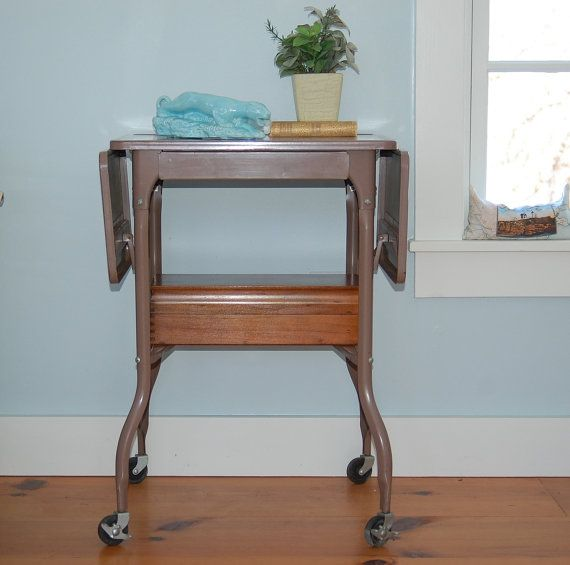 Vintage Metal Typewriter Table Drop Leaf Locking Wheels, Tan Brown Beige,  Industrial Side End