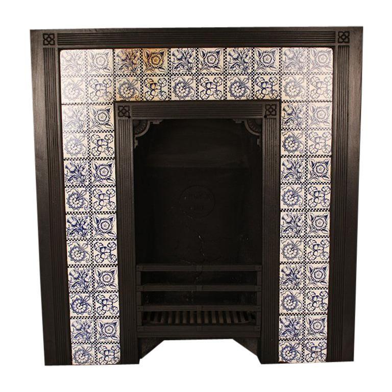 Antique Aesthetic Movement Victorian Tiled Thomas Jeckyll Insert Victorian Tiles Cast Iron Fireplace Insert Media Wall Unit