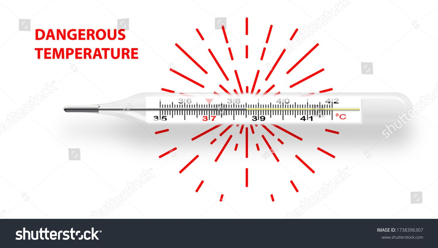 Mercurial Thermometer Lies Horizontally Shows Dangerous Temperature 38 5 Degrees Celsius Realistic Brochure Design Template Brochure Template Template Design