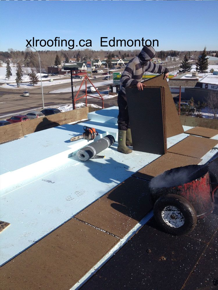 In This Photo You Can See The Hot Tar Waiting To Be Used To Mop Down The Fiberboard Insulation Work Done By Xl Roofing Com Roofing Roofing Contractors Parapet
