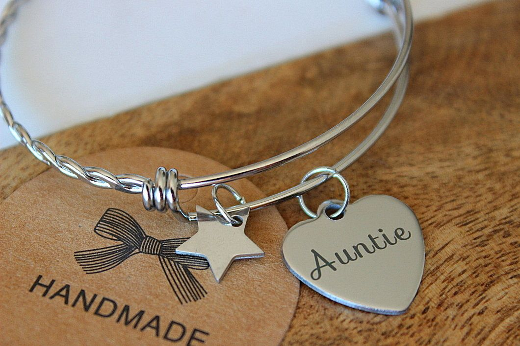 Personalized Aunt Bracelet Auntie Bangle Charm Gift For Simple