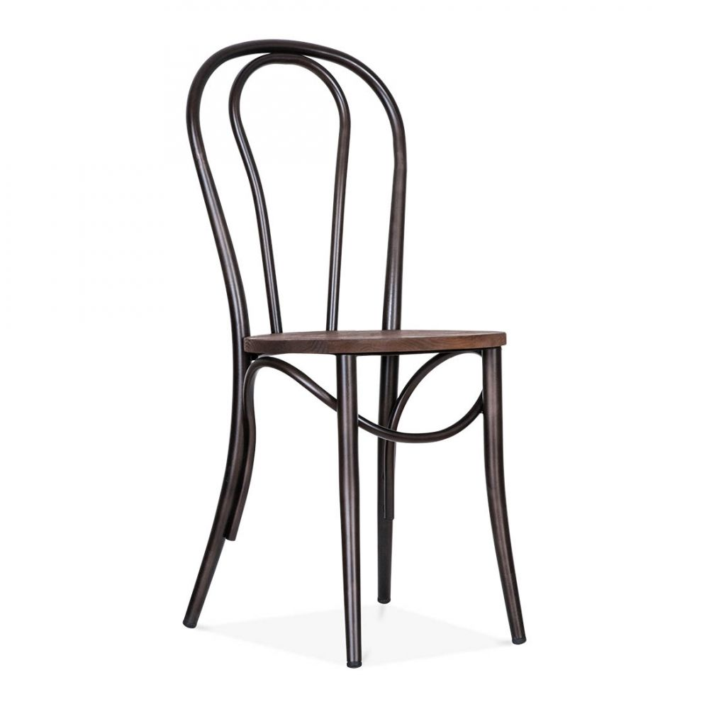 High Quality Thonet Style Metal Bistro Chair With Wood Seat   Raw Finish