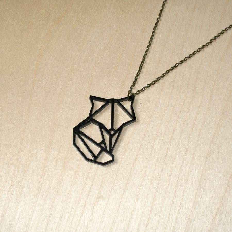 Fox Necklace Gift For Her Geometric Fox Necklace Birthday Gift Cat Necklace 925 Sterling Silver Origami Fox Cat Geometric Animal