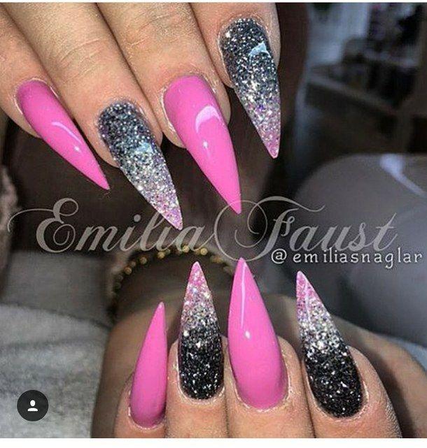 Nail Art Nailart Nails Stiletto Stilettonails Pinkblack Nail