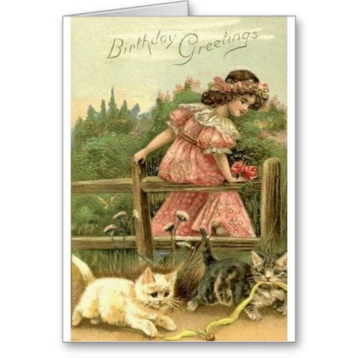 Victorian Girl And Kittens Birthday Card Zazzle Com In 2021 Vintage Birthday Cards Vintage Christmas Cards Vintage Postcards