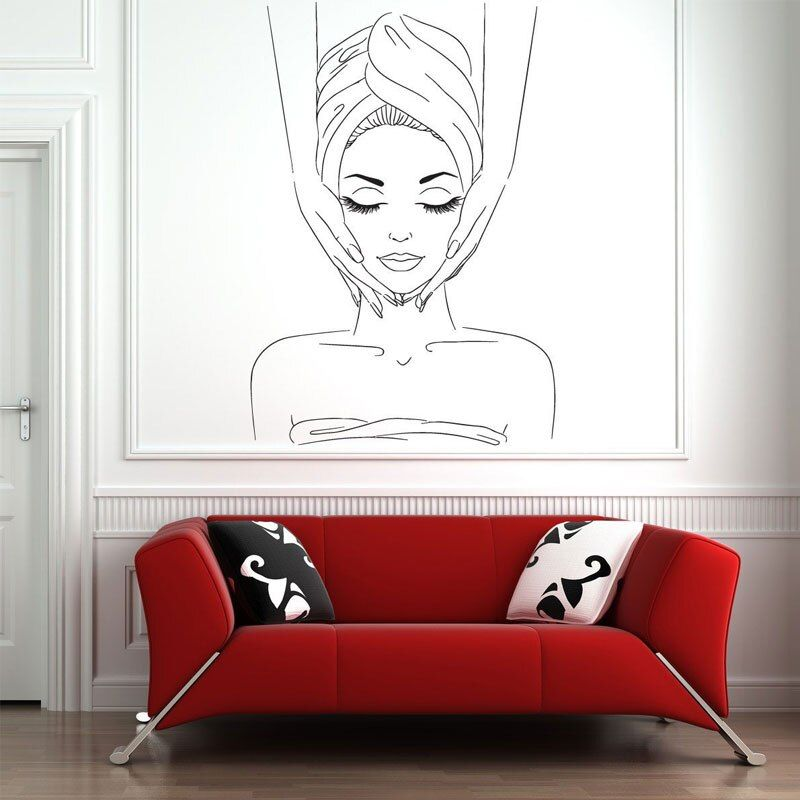 Girl In Bathing Massage Creative Wall Stickers For Beauty Salon Living Room Background Ar In 2020 Wall Stickers For Beauty Salon Esthetics Room Esthetician Room Decor