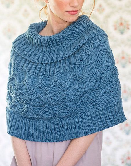 Free Knitting Pattern For River Poncho Cabled Capelet With Ribbed
