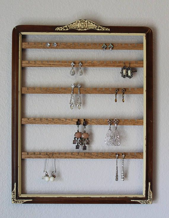 Hanging Jewelry Organizer Frame | Wall Mount Earring Organizer ...